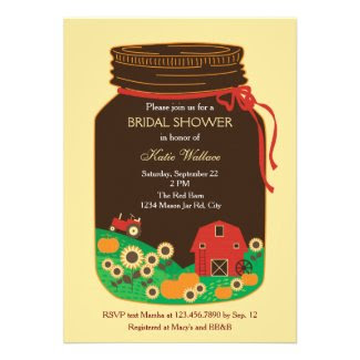 Red Barn Mason Jar Bridal Shower Invitation
