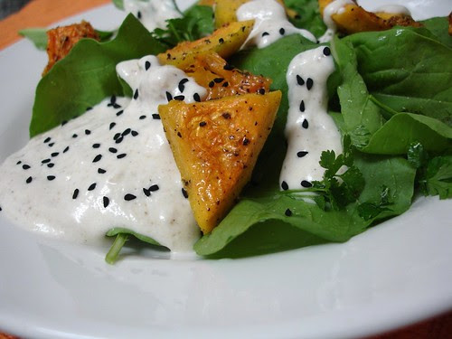 Roasted squash salad with tahini