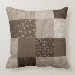 fun sepia fabric patchwork vintage art designer pillows