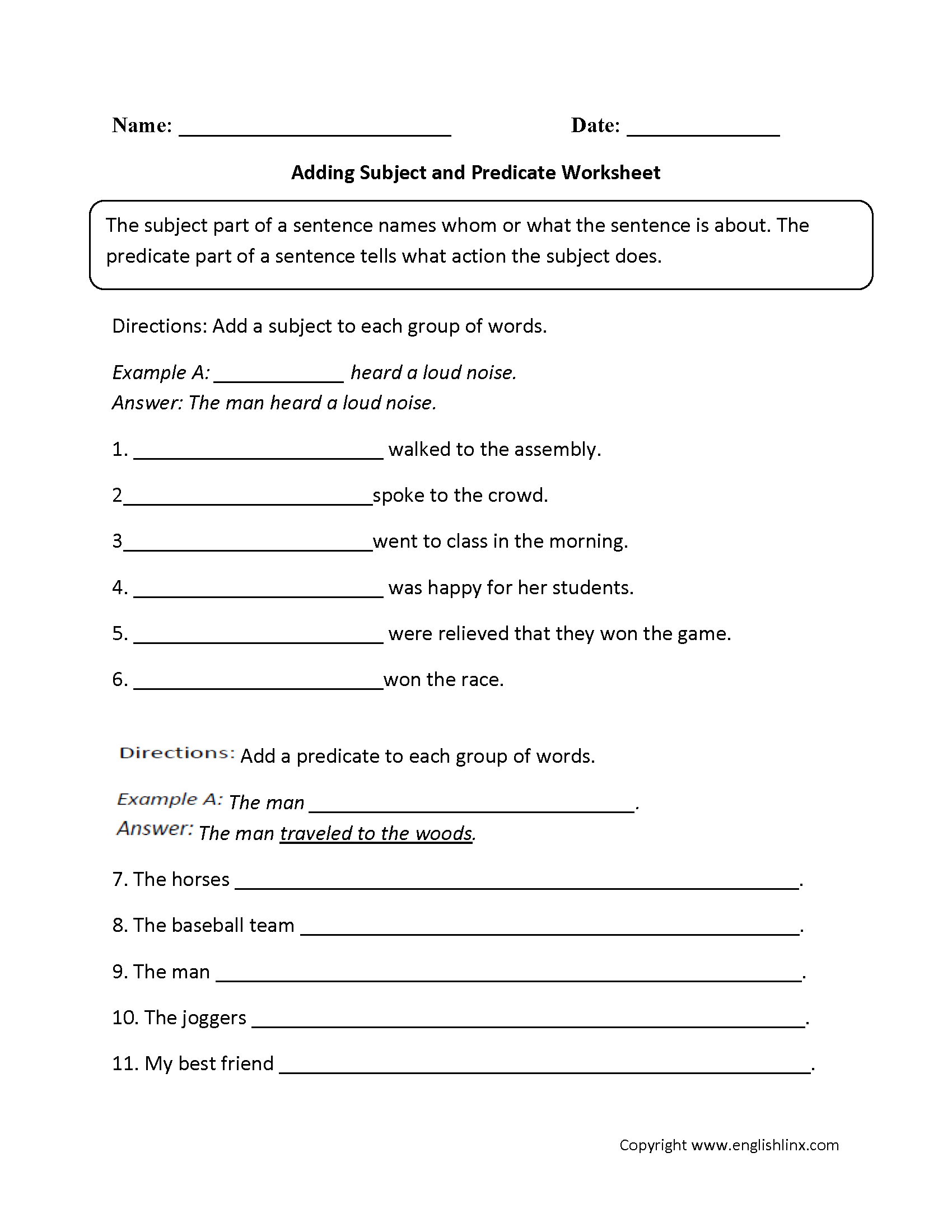 Parts Of A Sentence Worksheets Subject And Predicate Worksheets