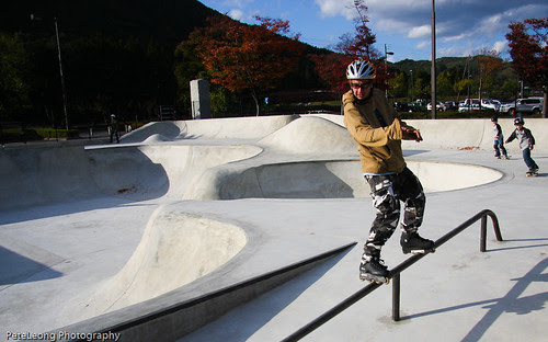 Gettin my grind on at new Fukushima skate park