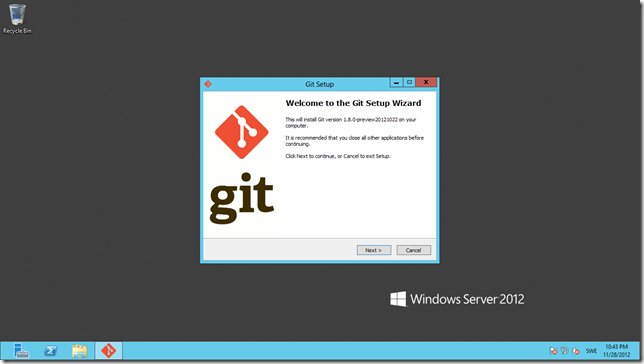 Download and launch Git on the sever.