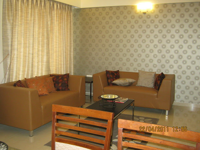 View of Living from Dining in the sample flat at Park Springs - 2 BHK - 3 BHK Flats - Lohegaon Gram Panchayat - Dhanori - Pune 411 032 - By Pride Purple Group & Rainbow Housing
