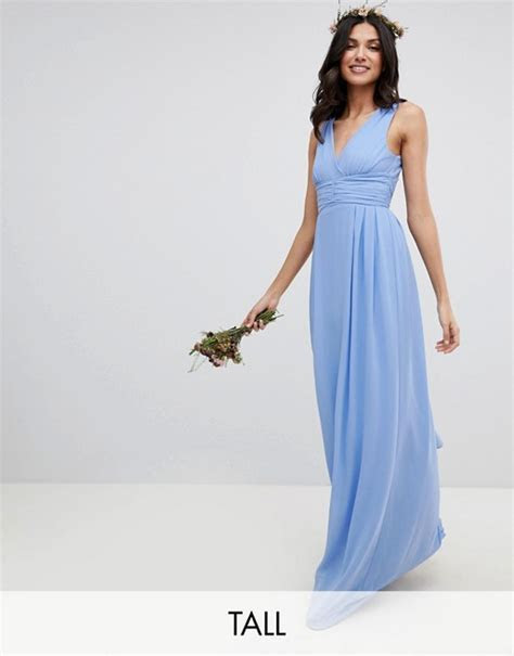 TFNC Tall Wrap Front Maxi Bridesmaid Dress With Tie Back