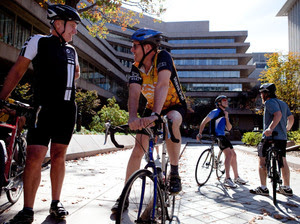National Geographic Society CEO John Fahey talks to Dan Westergren, who is also an avid cyclist.