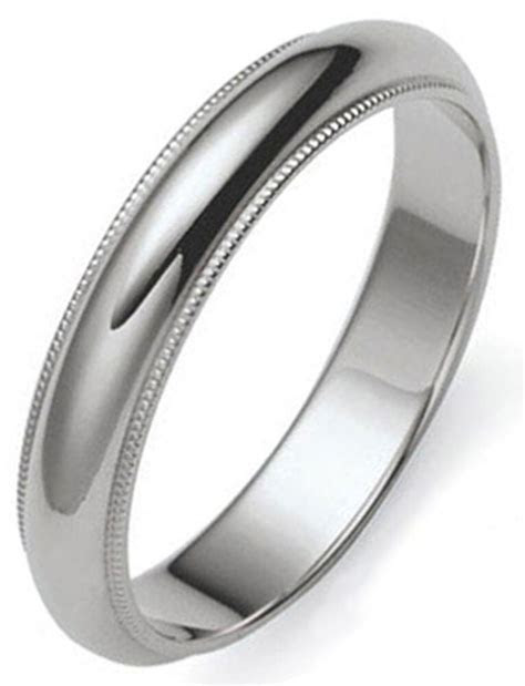 4 mm MILLGRAINED PLATINUM Dome Men's Wedding Band Ring 1