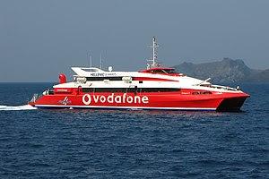 HSW Flyingcat 4 approaching Santorini, Greece.