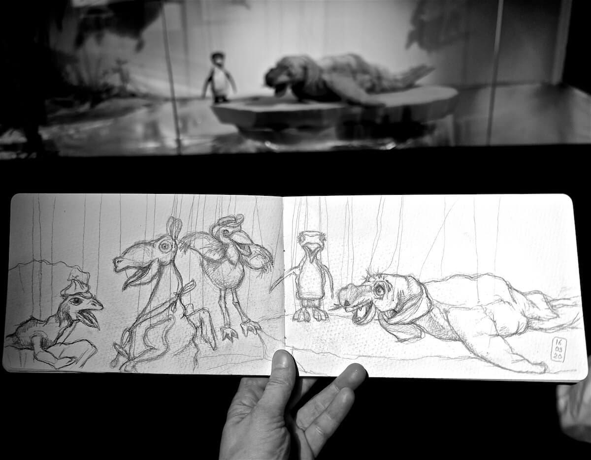 Zeichnung Marionetten Urmel auf dem Eis