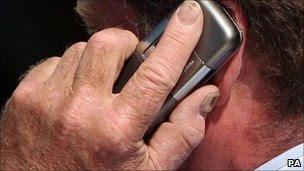 Man using mobile, PA
