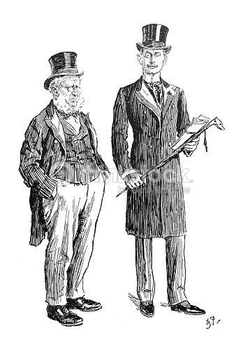 イギリス風刺コミック漫画イラストロングコートとトップハットの二人の