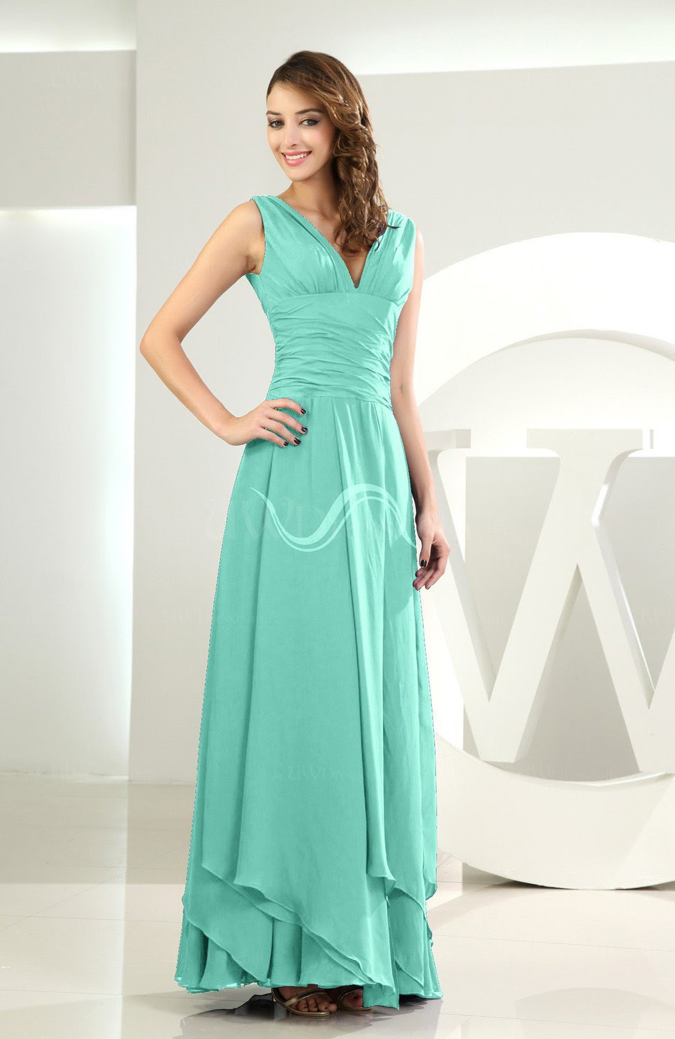 mint green simple aline vneck sleeveless chiffon wedding