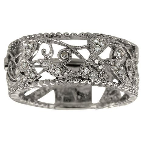 Antique Wide White Gold Filigree Diamond Wedding Band