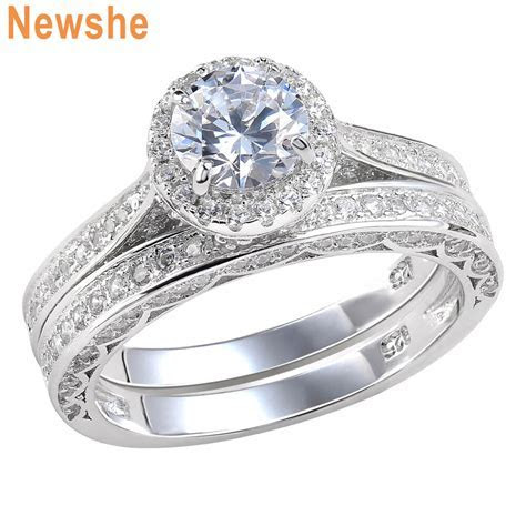 Round CZ 925 Sterling Silver White Gold Plated Wedding