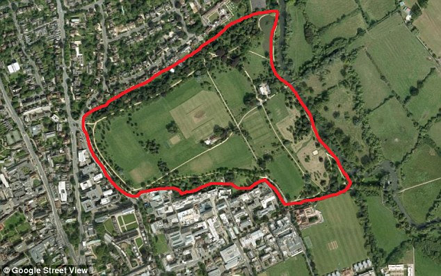 Police have shut down Oxford University Parks (shown above) in the hunt for the former groundsman, aged 21
