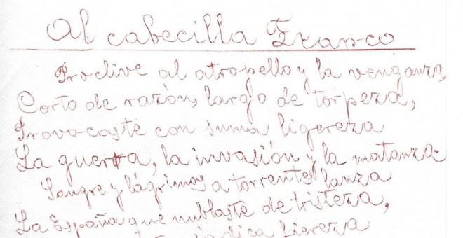 Manuscrito de 'Al cabecilla Franco'. / CLAUDIO RODRÍGUEZ FER