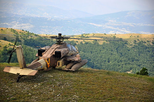 Israeli Apache helicopter overlooks the Greek hills