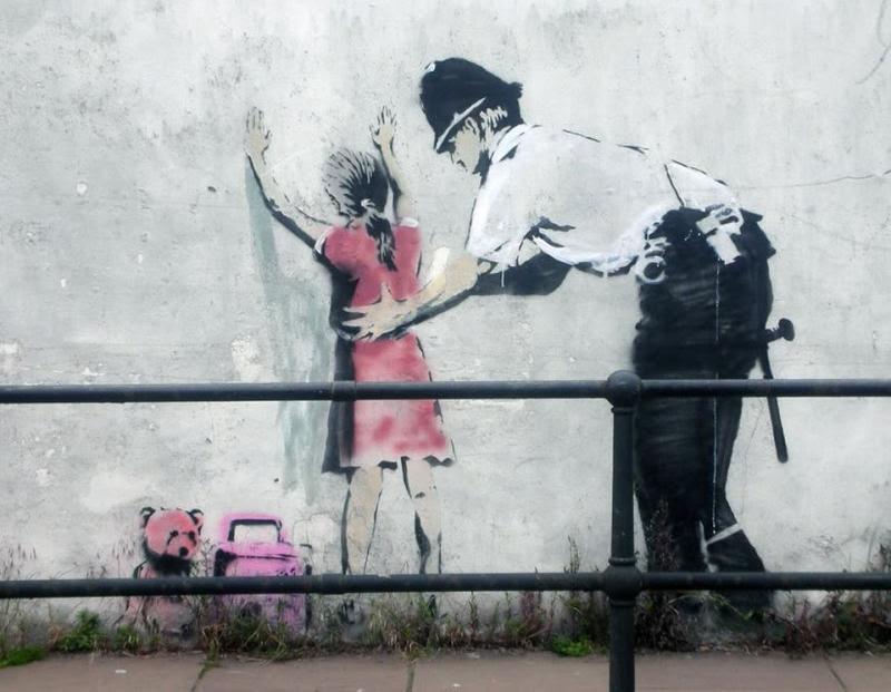 Banksy British Police Pats Down A Girl Mural