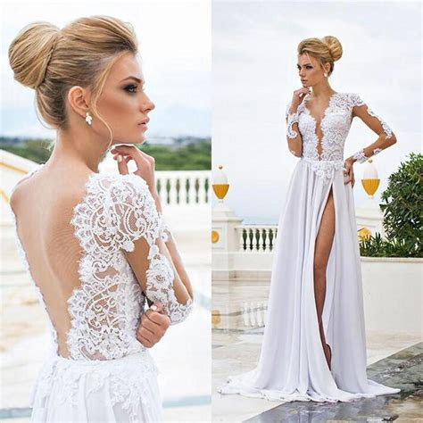 2015 Sexy Beach Wedding Dresses Sheer Lace Appliqued Long