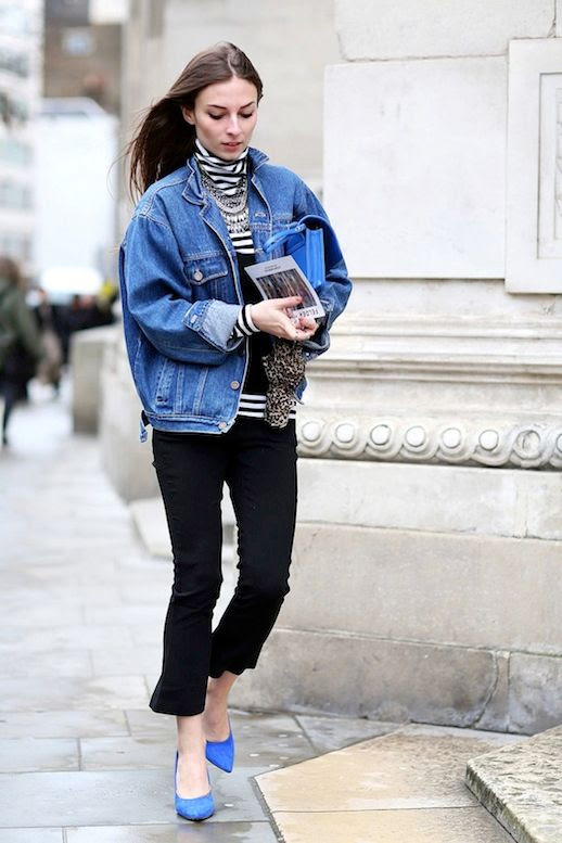 Le Fashion Blog Street Style Denim Jacket Striped Turtleneck Layered Necklace Cropped Black Pants Bright Blue Pumps Via Refinery29