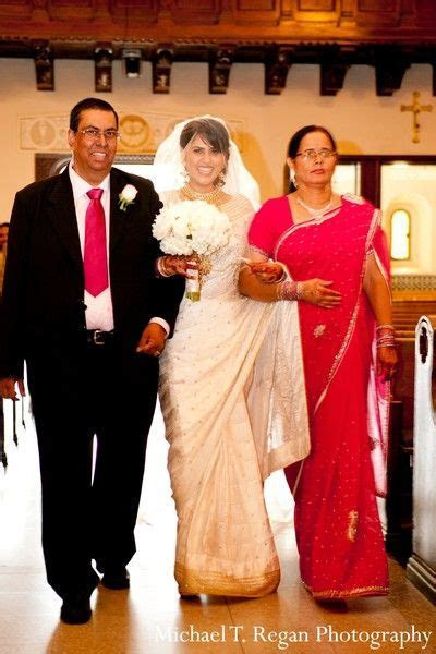 An Indian bride and groom wed in a traditional Catholic