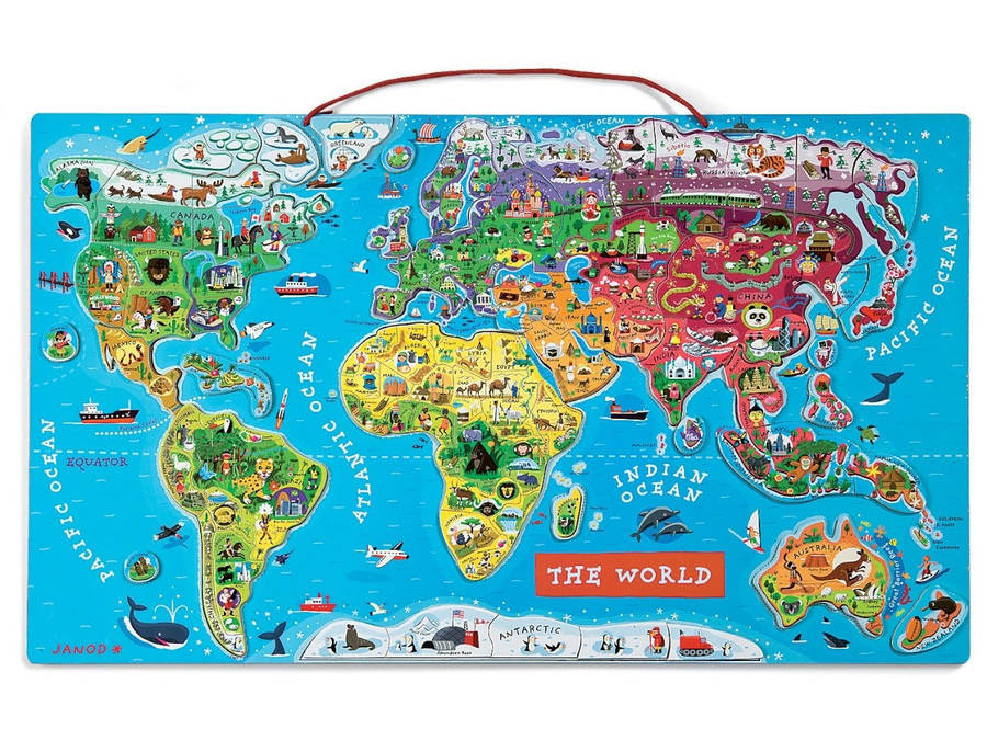 large magnetic world map by oskar & catie ...