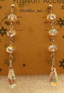 Wire wrap swarovski crystal Earring