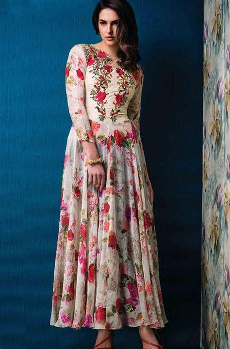 Cream Designer Party Wear Gown with Floral Print   Party