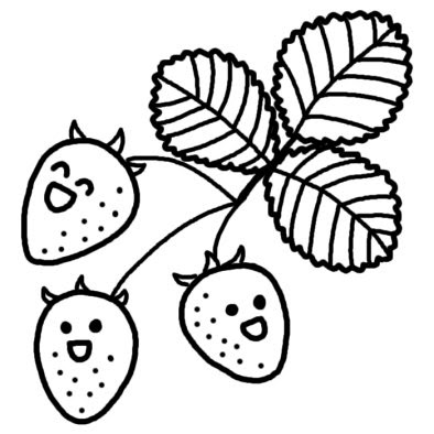 イチゴ苺春の植物春無料白黒イラスト素材