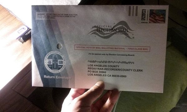 My absentee ballot for the 2016 U.S. presidential election has been mailed.