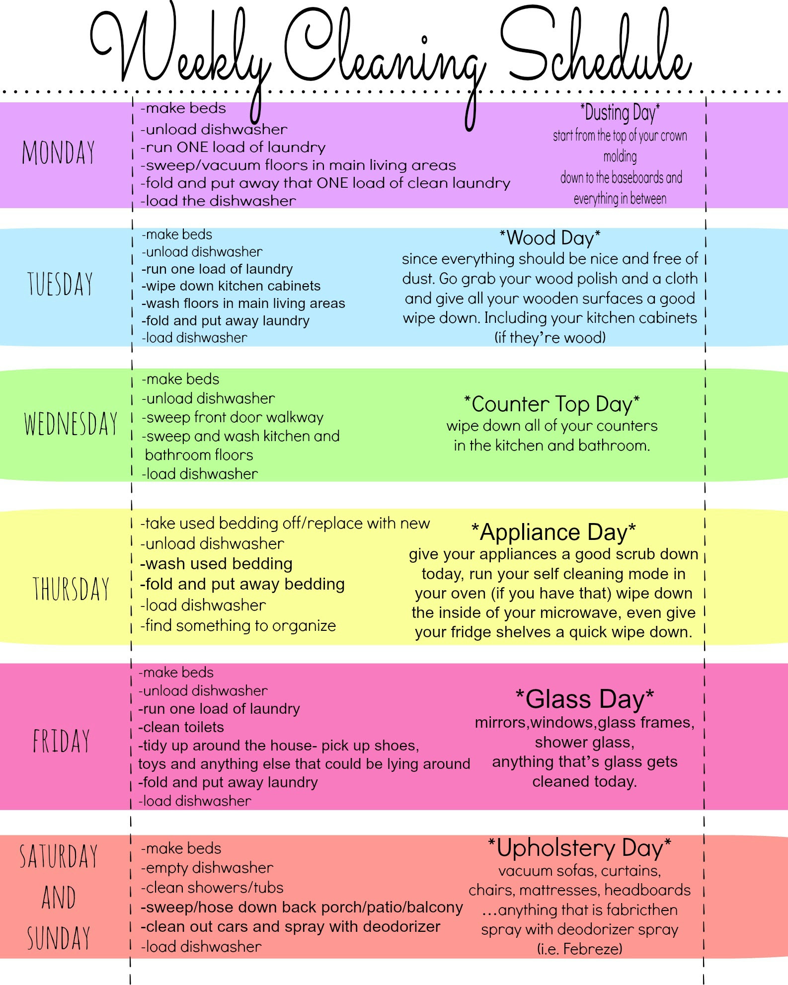 My Quirky Weekly Cleaning Chart: Free Printable - First Home Love Life