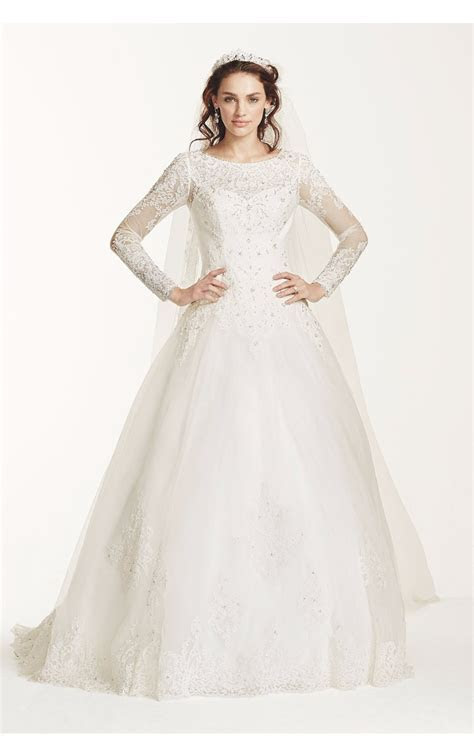 Elegant Beaded Neck Long Sleeves All Over Lace Ball Gown