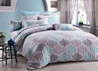Rustic Wavy Shape in Grey and Light Blue Cotton 4 Piece Bedding ...