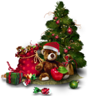 Transparent Christmas Tree with Teddy Bear PNG Clipart
