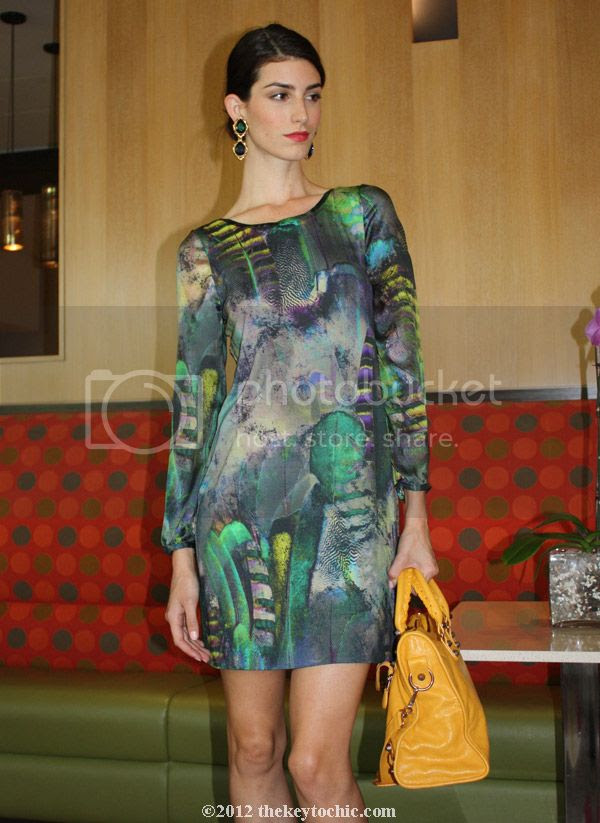 Cluny graphic print dress, Balenciaga bag