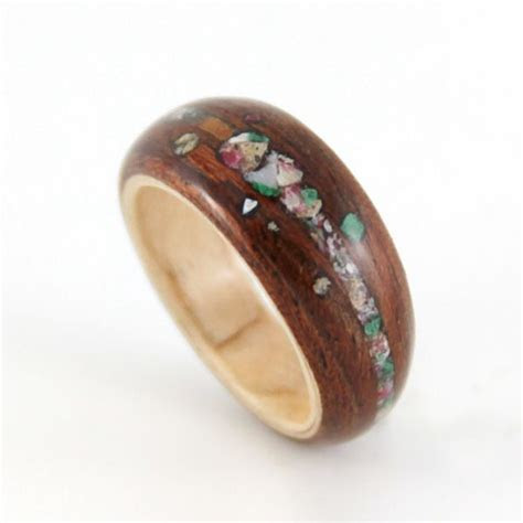 Unique Crushed Stone and Wood Engagement Ring   For the