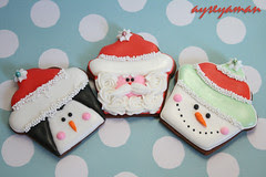 christmas penguin, santa, snowman cookies