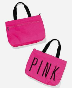 Victoria's Secret PINK LOVE PINK Zipper Weekender Canvas Beach Gym Tote Bag-Candy Pink with Graffiti Script: Sports & Outdoors