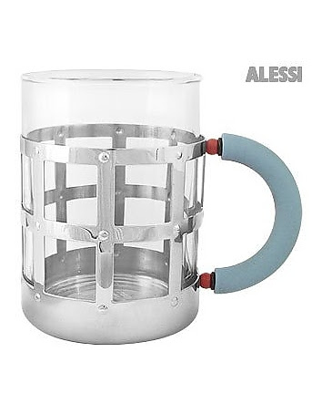 Stainless Steel Mug with Blue Handle