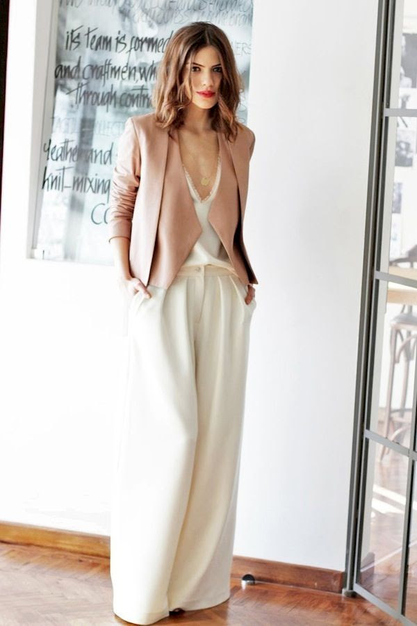 Le Fashion Blog Wide Leg Pants Wavy Hair Red Lipstick Blush Pink Jacket Silk Lace Cami Sexy Chic Event Dinner Party Style Via Blogger Maritsa