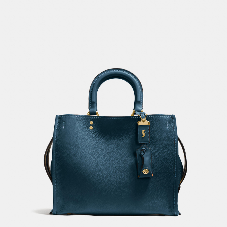 Coach 1941 Rogue Handbag in glovetanned pebble leather - old brass/ dark denim