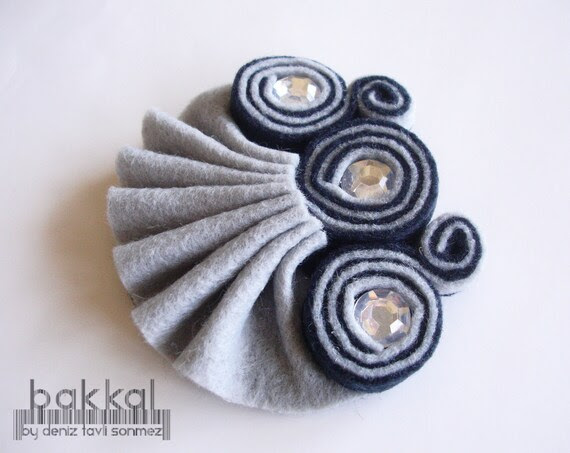 image felt brooch grey diamante ruffle shell