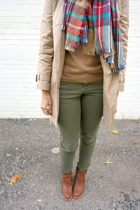 FALL CAPSULE #1: SO FALL, Y'ALL | Style On Target | @target Plaid Scarf, @LOFT cognac ankle boots, @oldnavy green pants; fall casual outfit