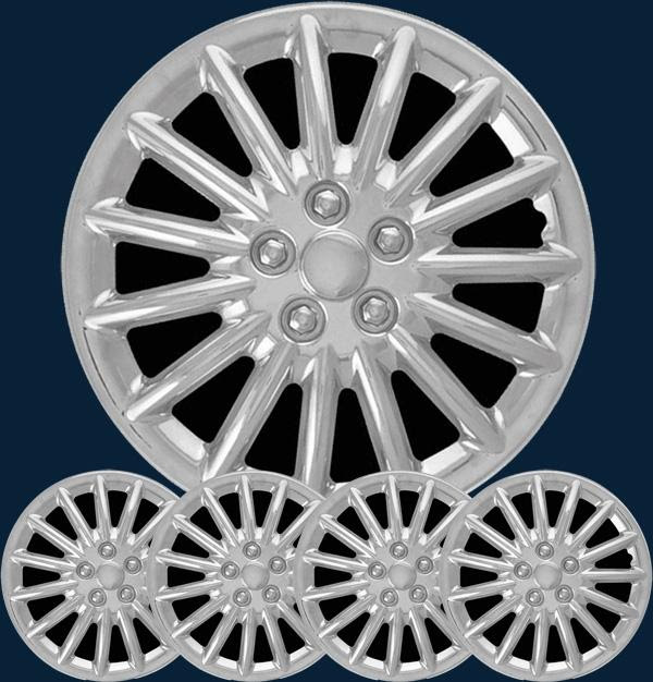 """15"""" Chrysler Dodge Chrome Hub Caps Wheel Covers Set enlarge"""