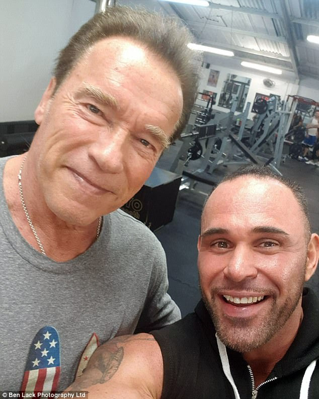 Pumping iron: Arnold Schwarzenegger, 70, proved he was still a fitness fanatic as he squeezed in a workout at a Yorkshire gym during the UK leg of his tour on Thursday