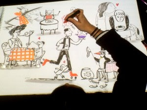 Emily Hughes drawing SSKF group impro2015-11-21 18.08.27