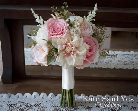 Blush Pink and Ivory Dahlia Garden Rose and Ranunculus
