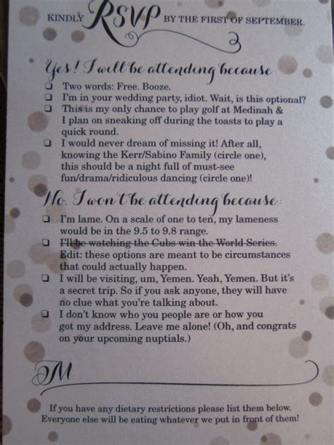 Funny RSVP Card Shows Off Couple's Sense Of Humor (PHOTO