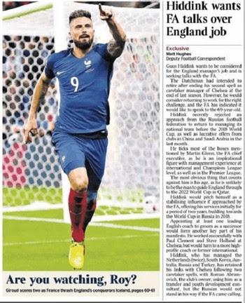 Capa do Times provoca a Inglaterra durante França x Islândia (Foto: Reprodução/The Times)