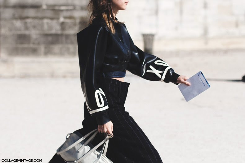 Paris_Fashion_Week_Spring_Summer_15-PFW-Street_Style-Leather_Bomber-Pinstripe_Trousers-1