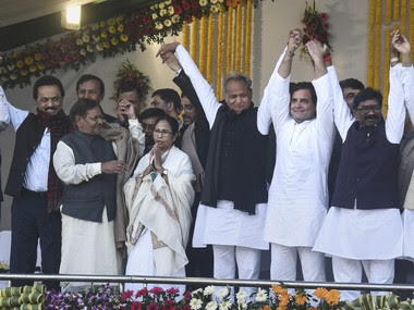 Opposition leaders at the swearing-in ceremony of JMM chief Hemant Soren as the Chief Minister of Jharkhand. PTI